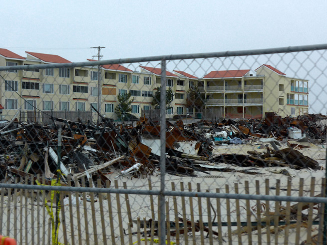 Debris piles New Jersey shore